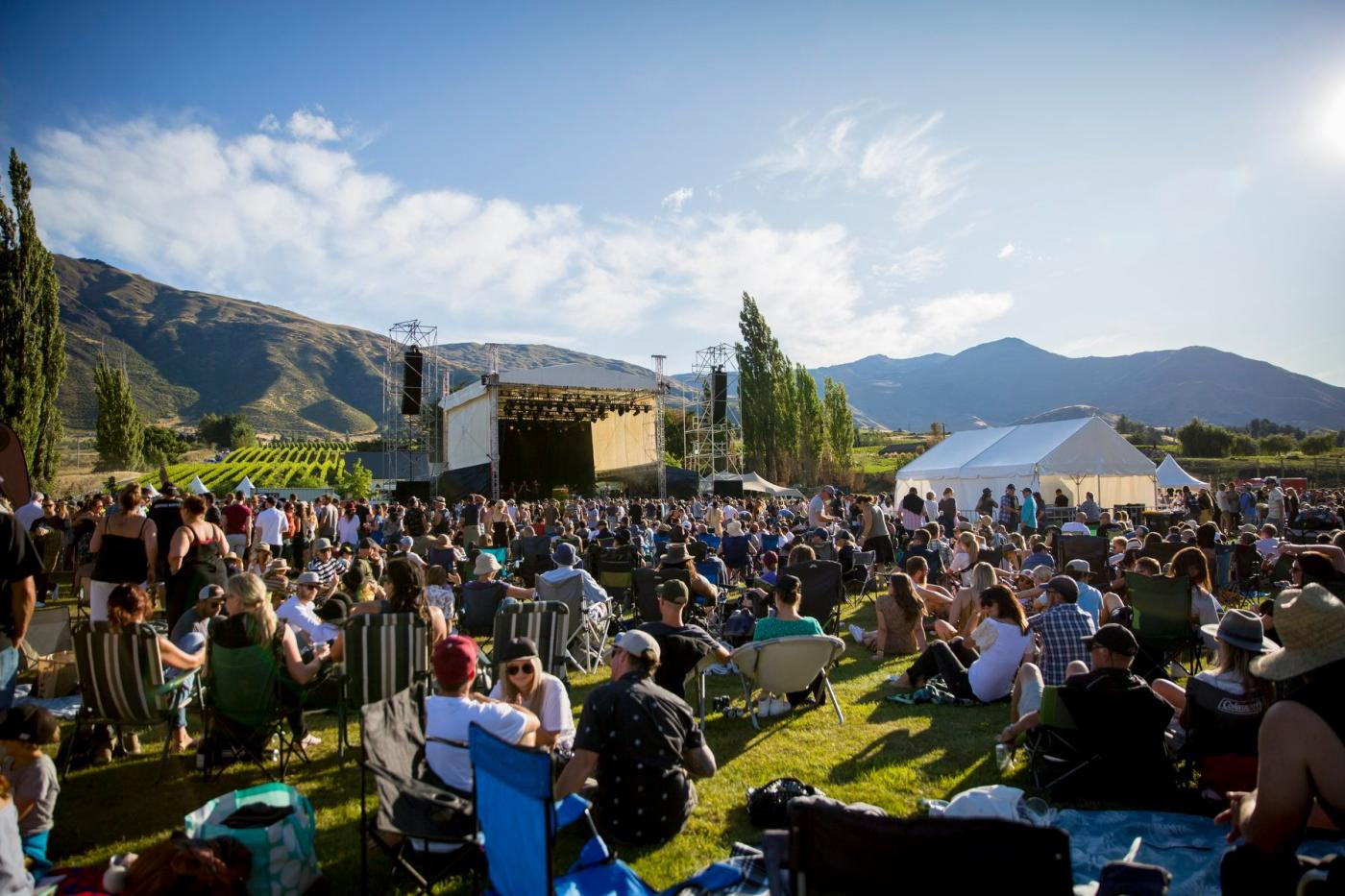 Concert goers relaxing at the annual Gibbston Valley Summer Concert