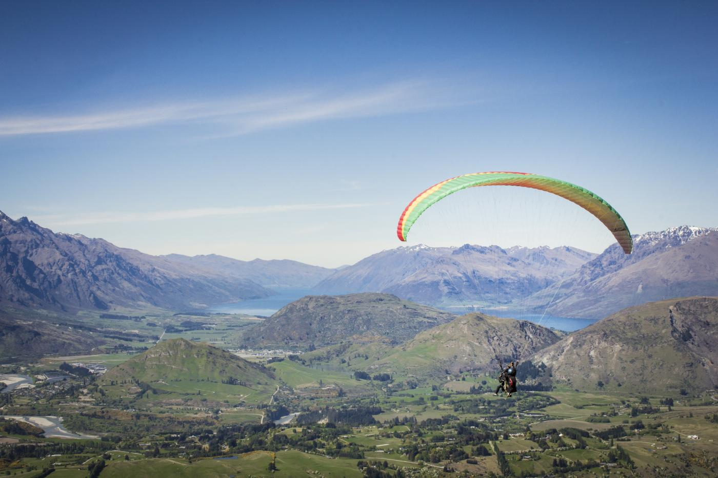 Paragliding from Coronet Peak in spring