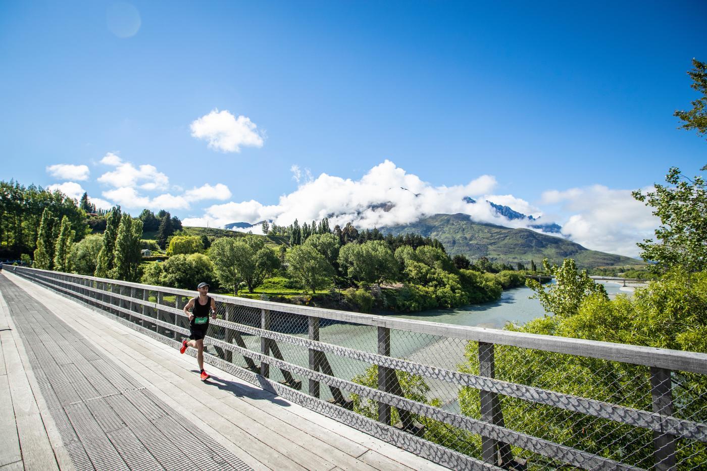 Queenstown Marathon Runner on the Lower Shotover Bridge