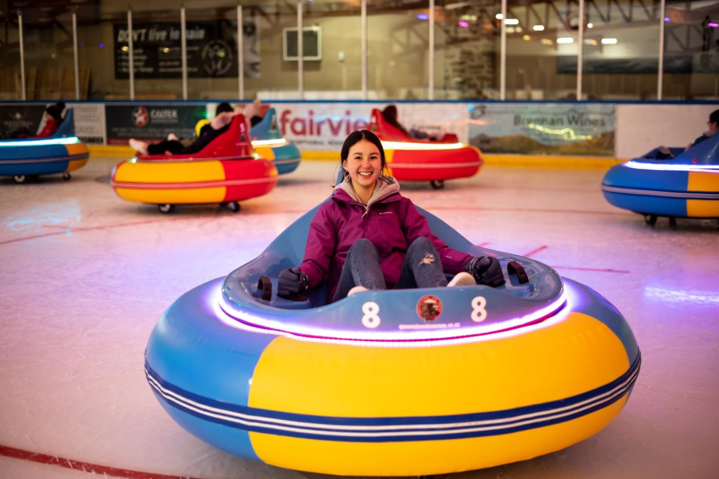 Young Girl on Ice Bumper Car at Queenstown Ice Arena