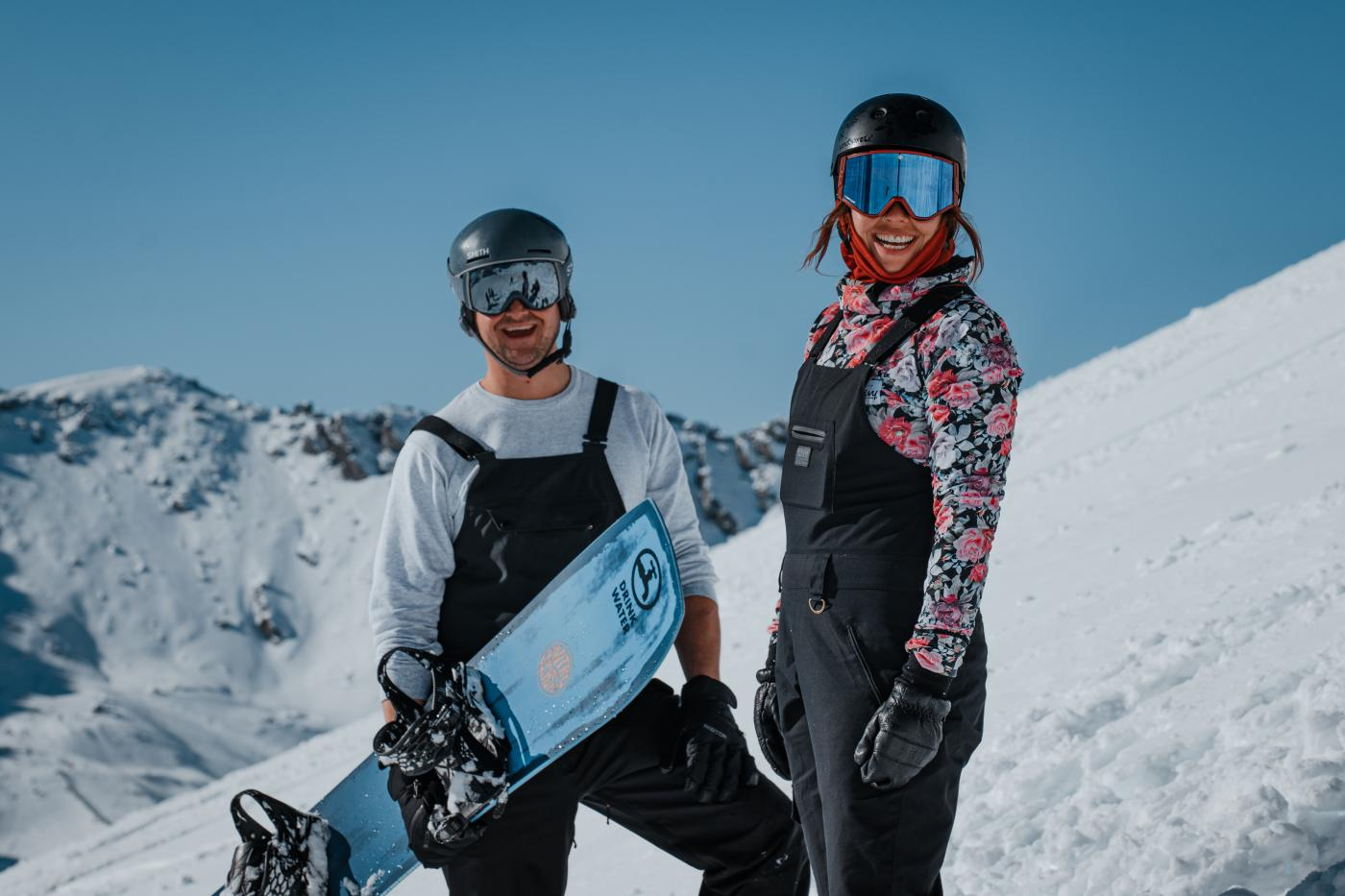 Couple of skiiers at The Remarkables in Spring