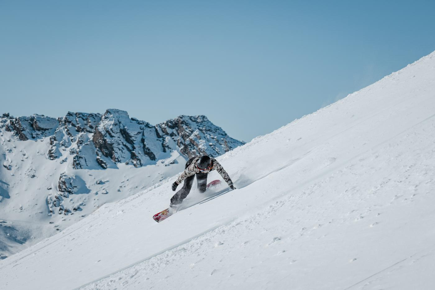 Spring snowboarder at The Remarkables