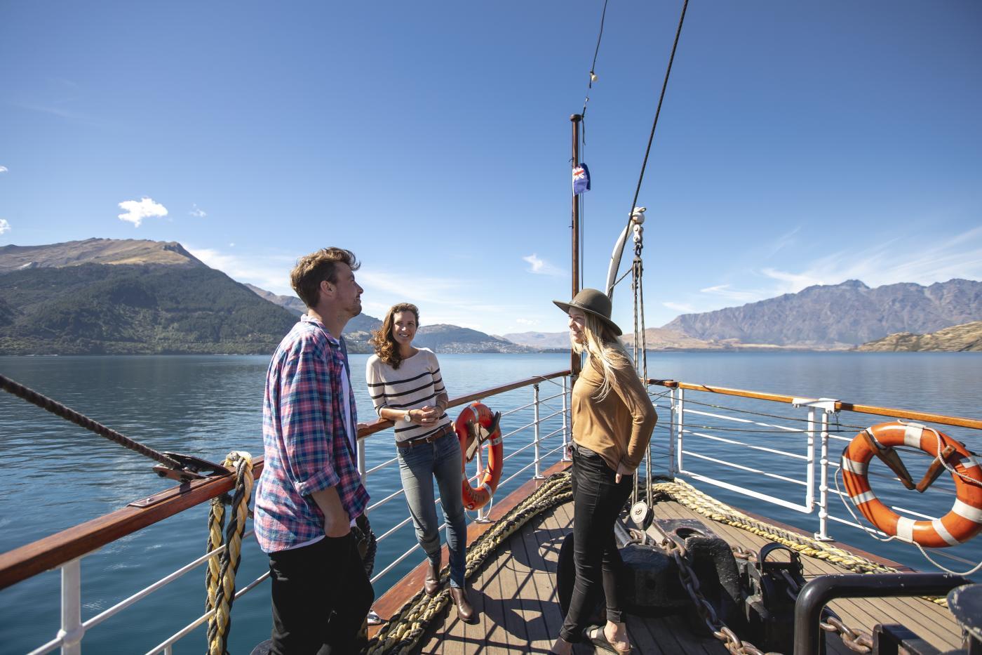 Friends on the TSS Earnslaw Steamship in Summer