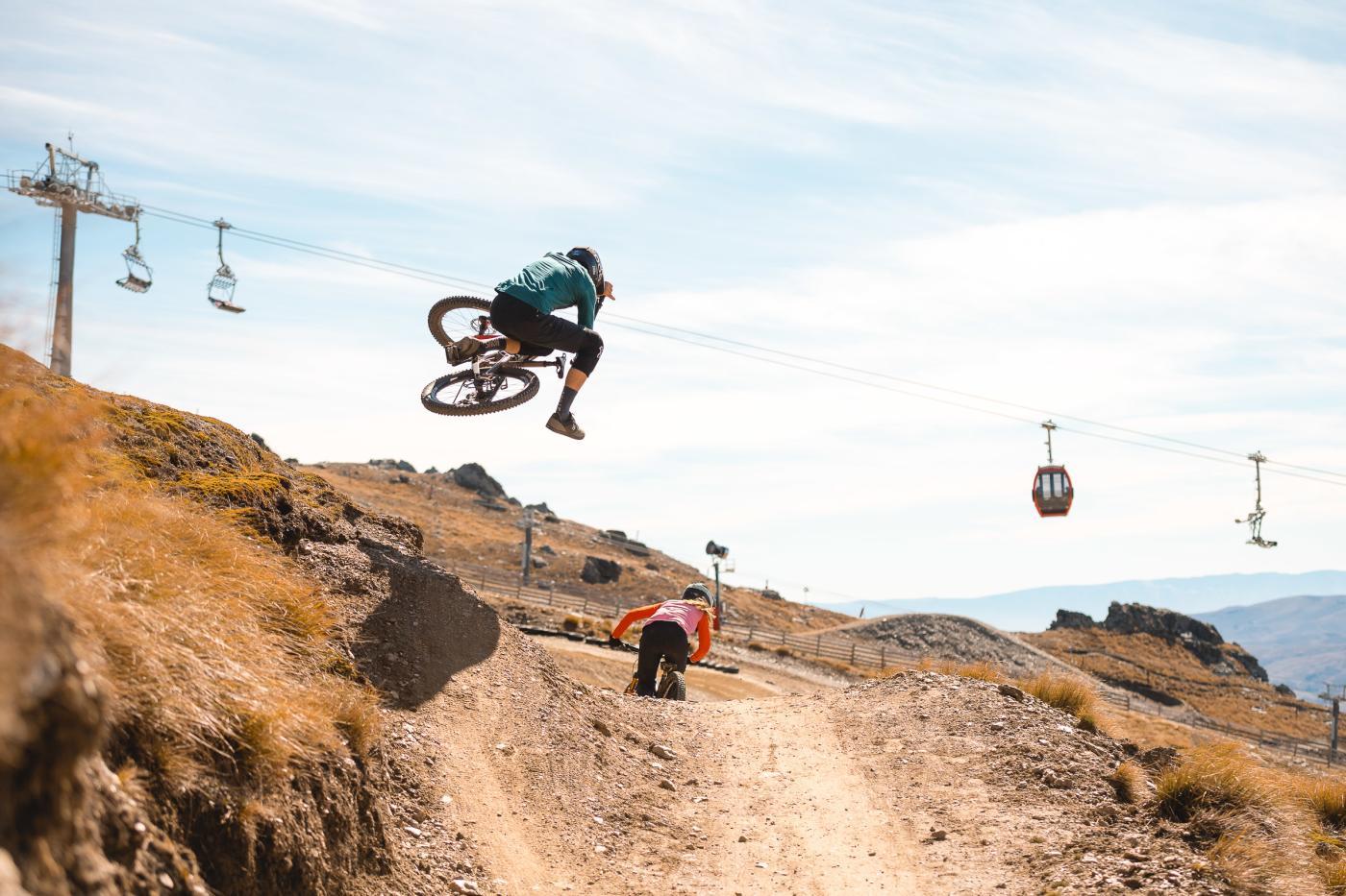 Mountain Biking does a jump at Cardrona Bike Park