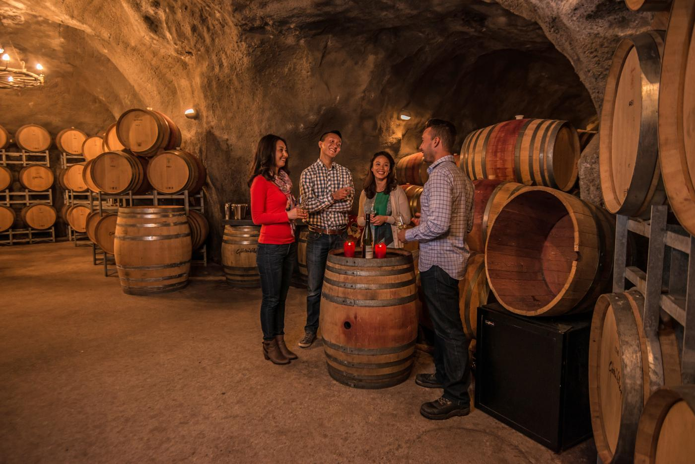 Wine tasting in the Wine Cave at Gibbston Valley Winery