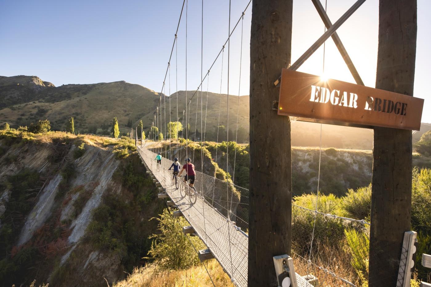 Biking over the Edgar Bridge, Arrow River Bridges Trail