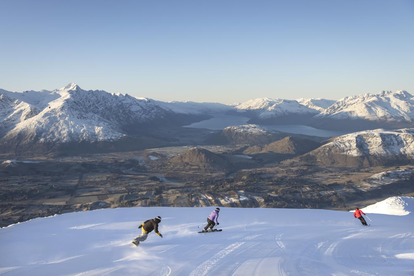 Snowboarding at Coronet Peak