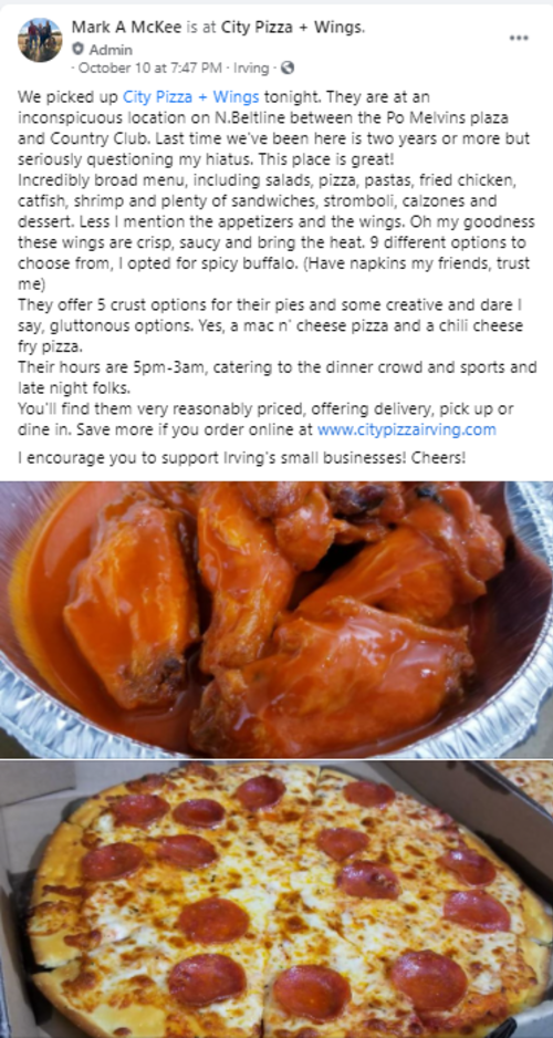 Facebook post about City Pizza + Wings in Irving, TX