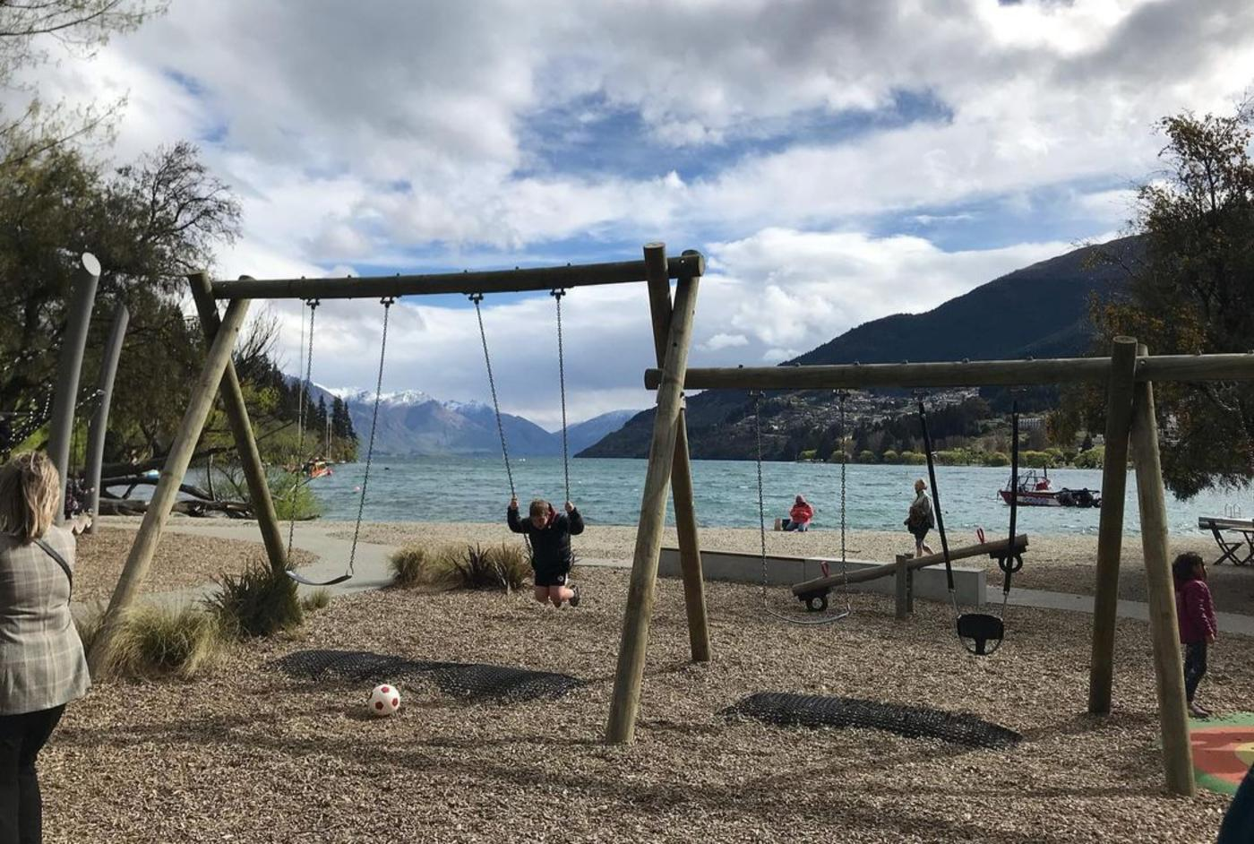 Swings by the lakeside at Queenstown Playground
