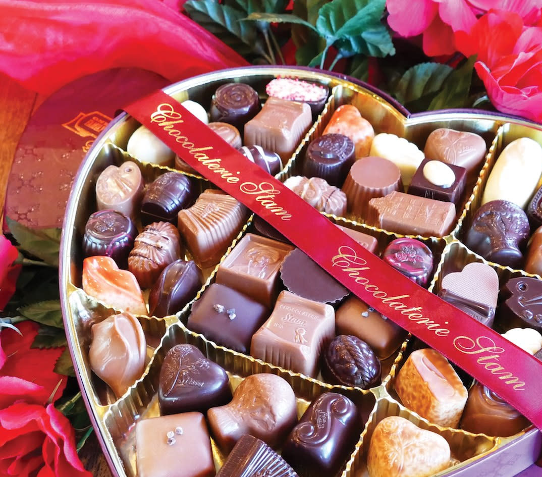 Heart shaped box of assorted chocolates from Chocolaterie Stam