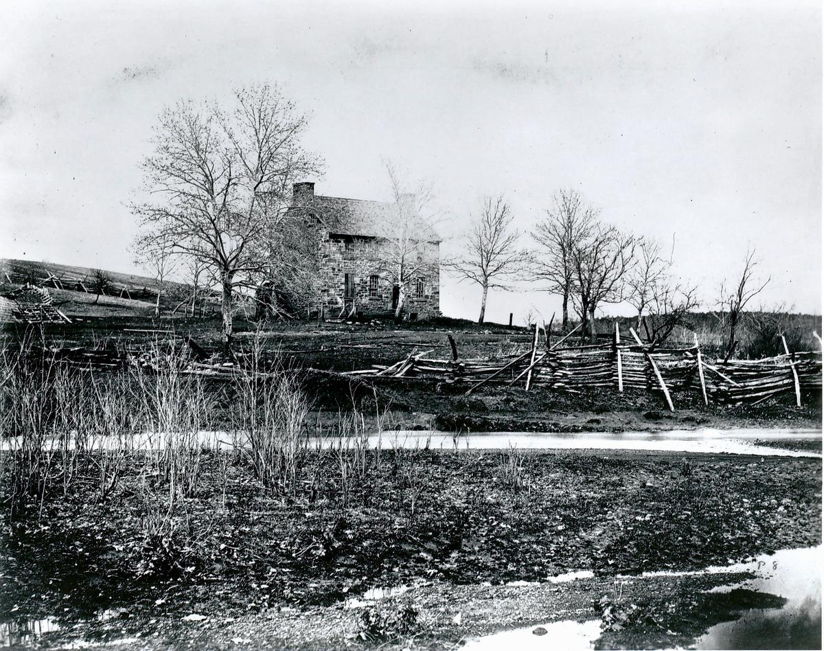 black and white photograph of the Stone House on Henry Hill at Manassas Battlefield Park circa 1862