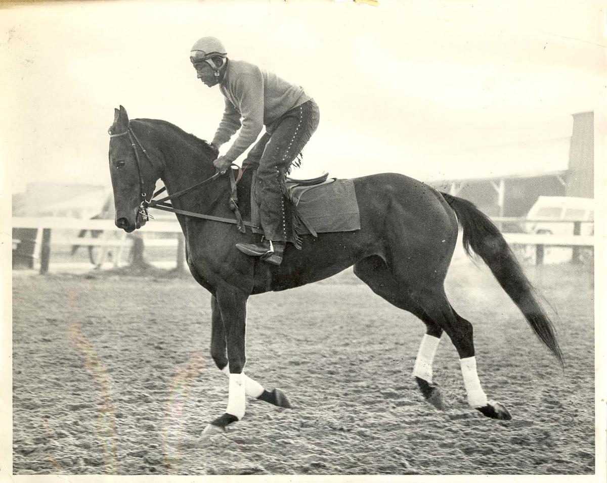 African American jockey mounted on racehorse at trot, stables and racetrack in the background.