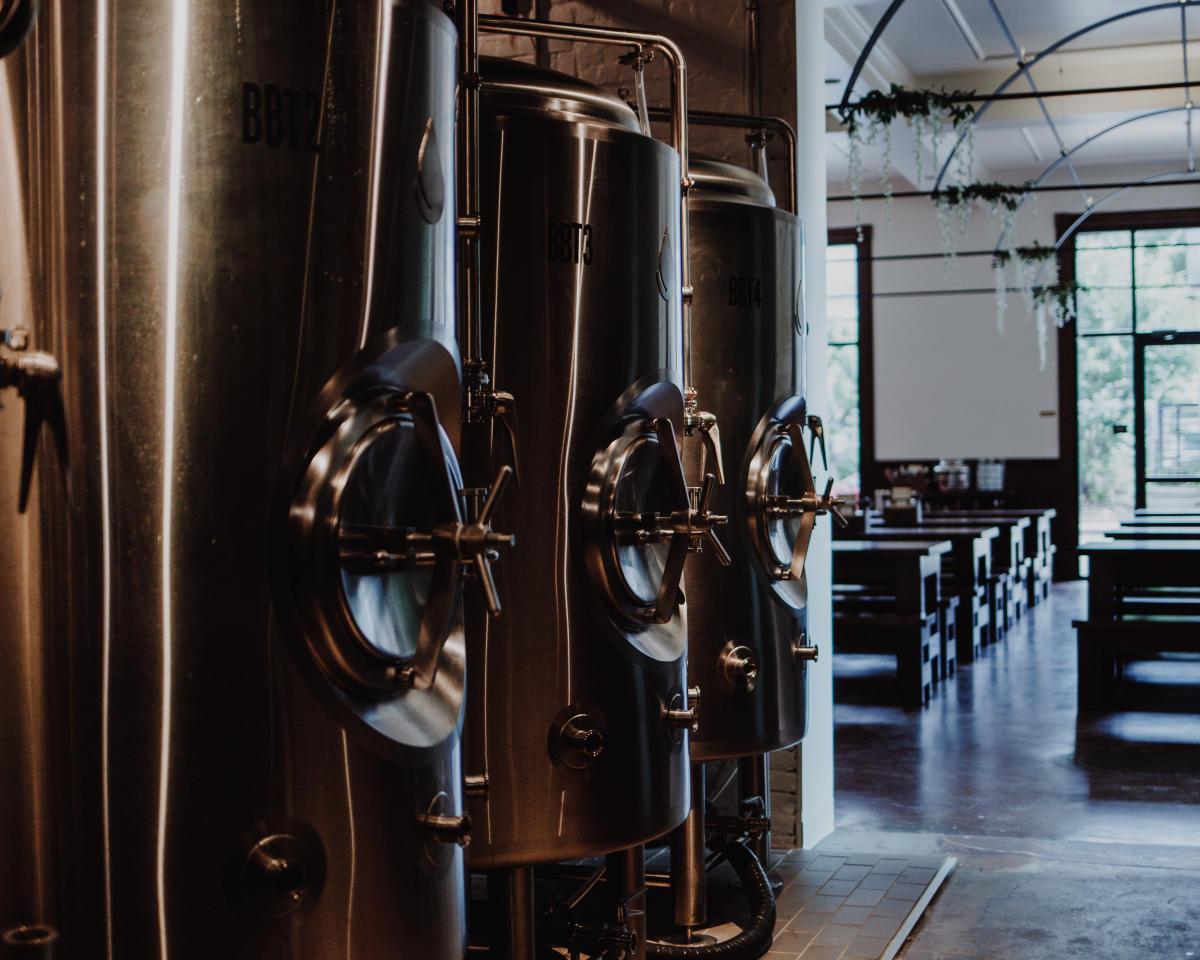 Beer Brewing Tanks at Gemut Biergarten