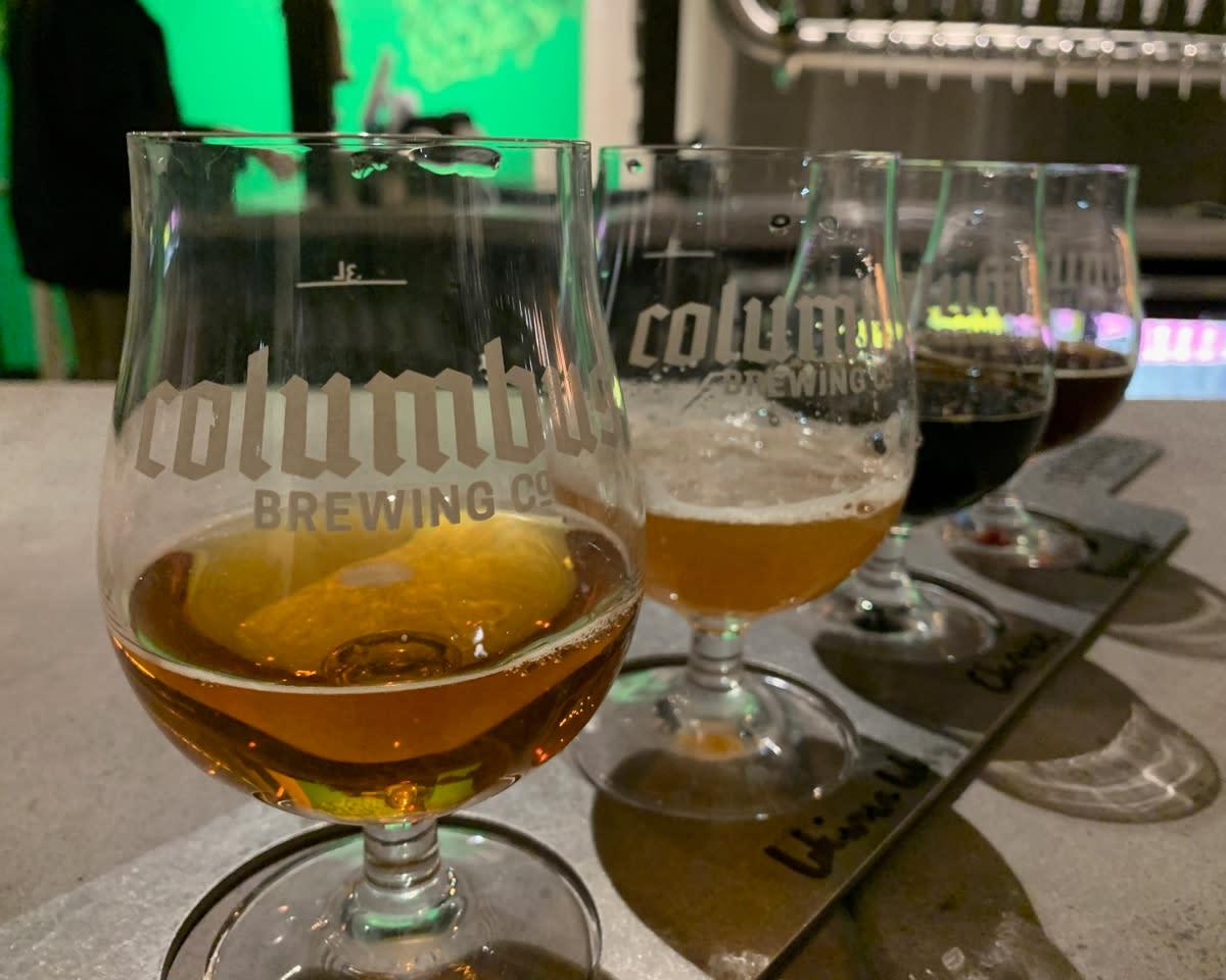 Flight of beer at Columbus Brewing Company