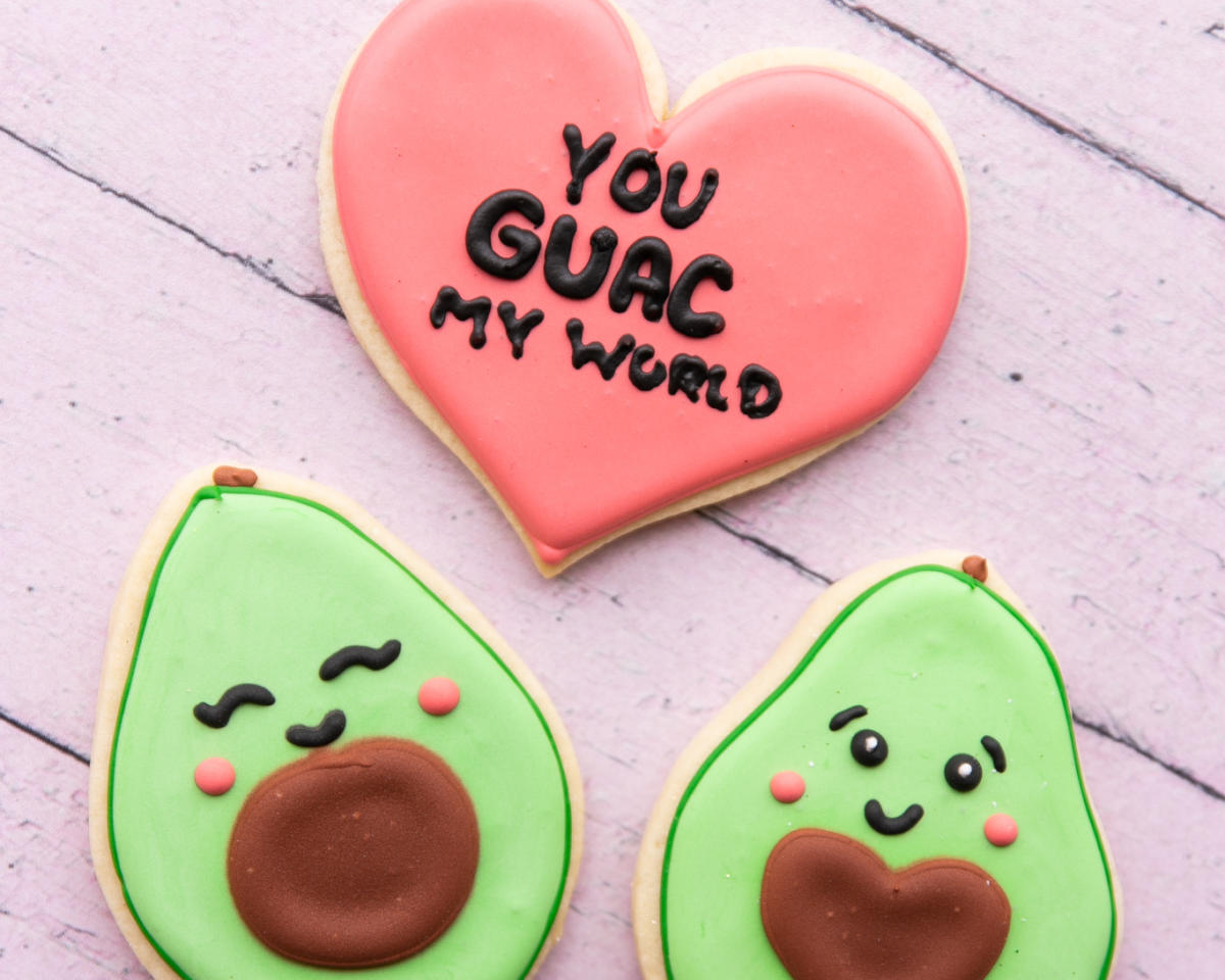 "Kittie's Cakes Valentine's Cutout Cookies - Avocados + ""You 'Guac' My World"""