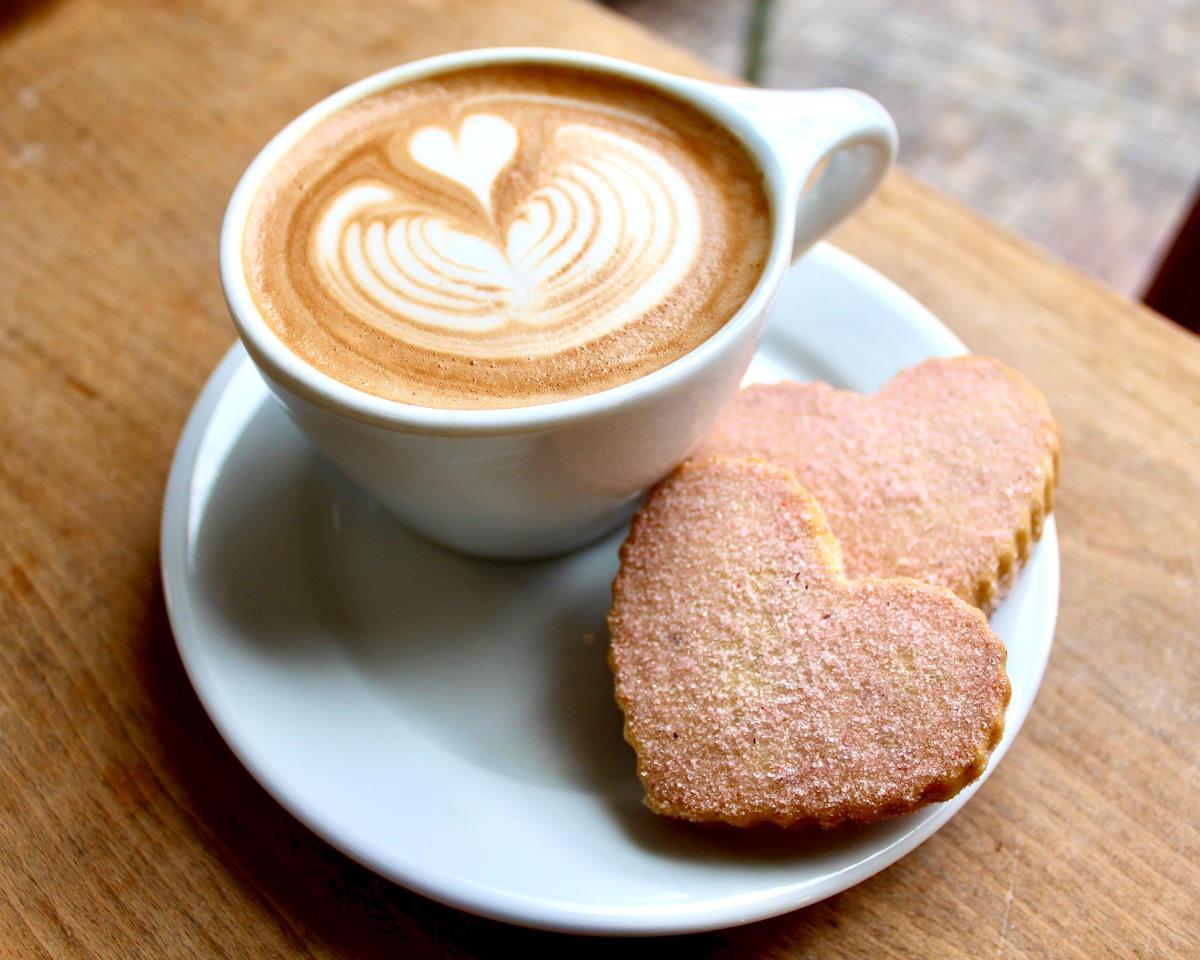 Pistacia Vera Valentine's Shortbread and Latte