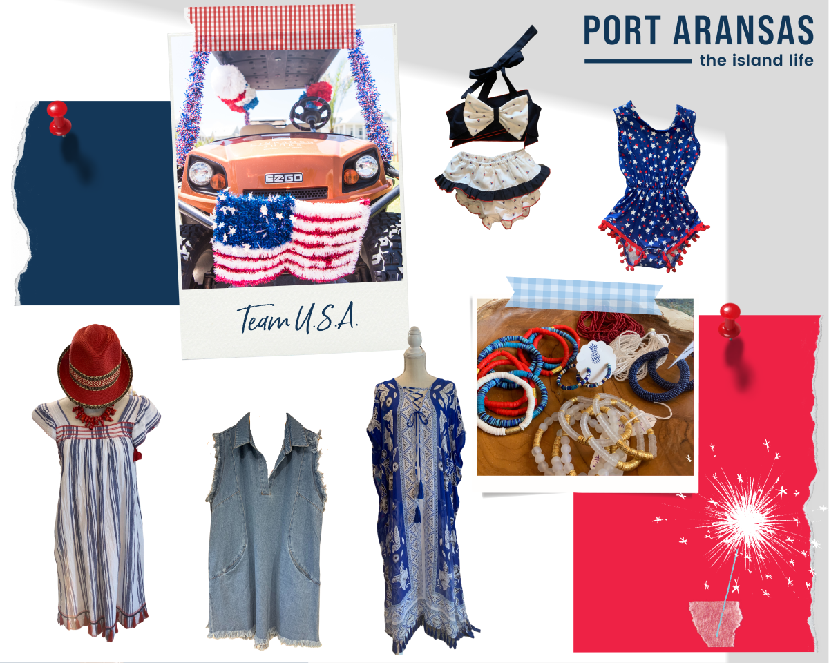 A collage of red, white, and blue clothing. There are two patriotic children's swimsuits, three dresses, and a photo of patriotic jewelry.