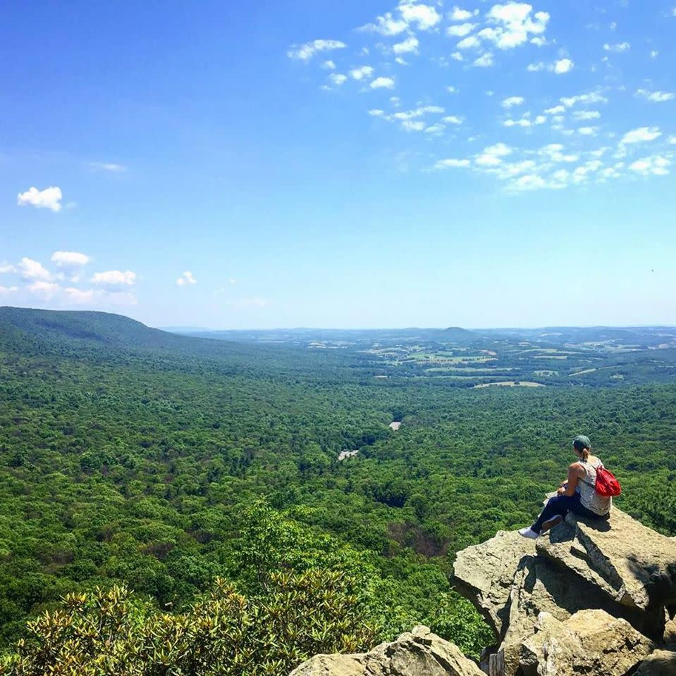 On a summer day, a hiker enjoys the view from Hawk Mountain in Lehigh Valley, PA