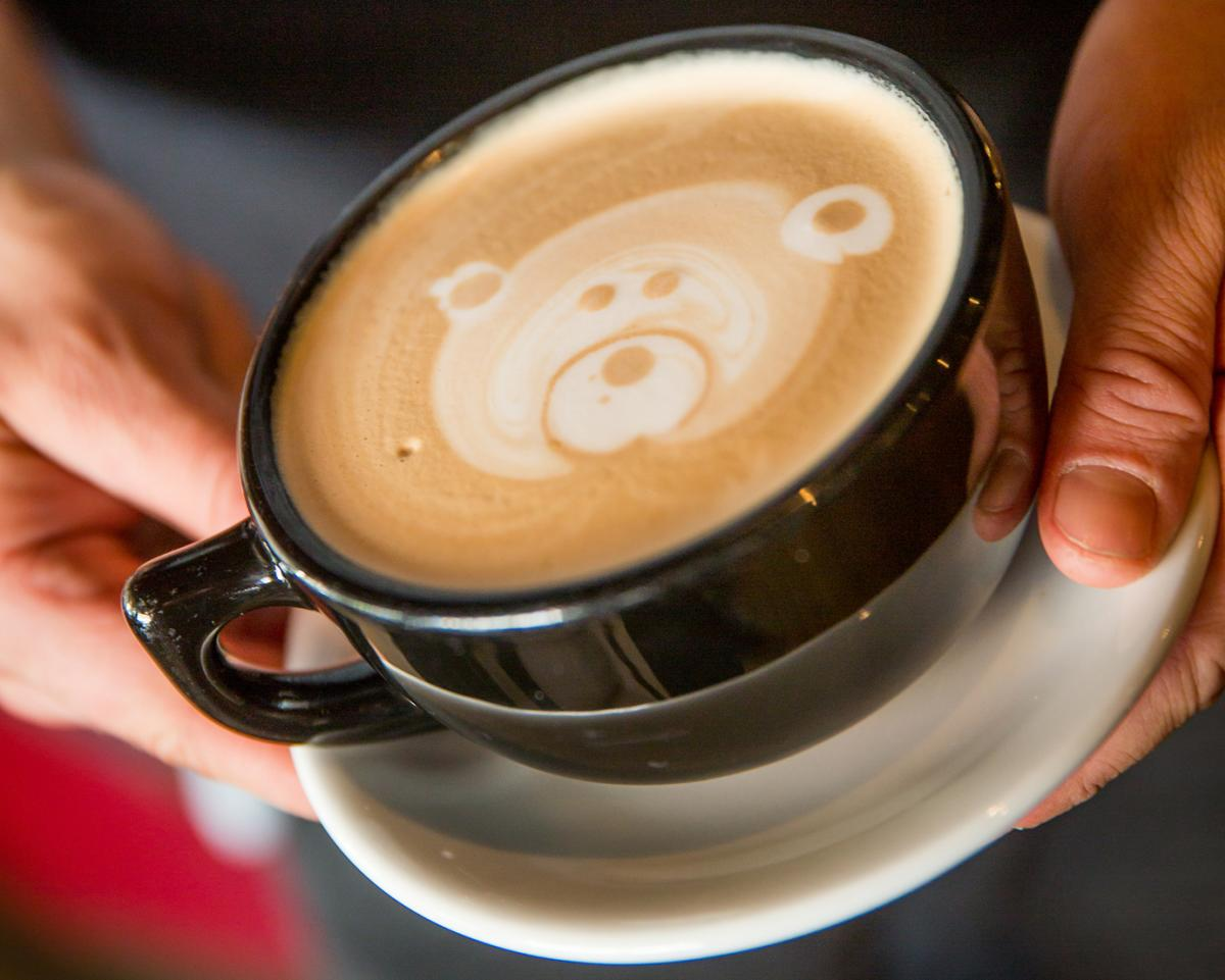 Hot latte in a mug with a bear design on top at Cafe Nola