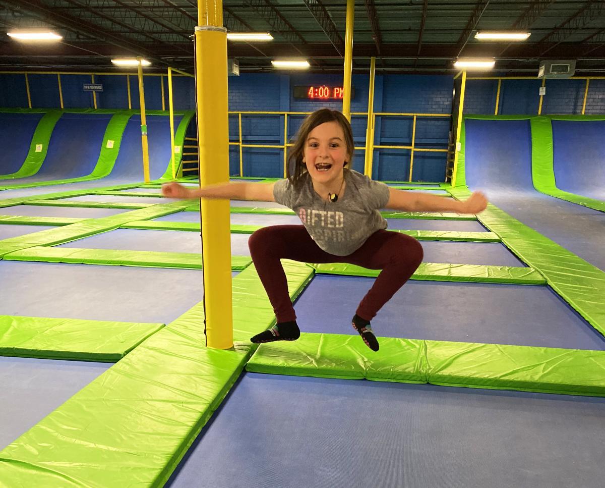 Girl jumping at Jumping World