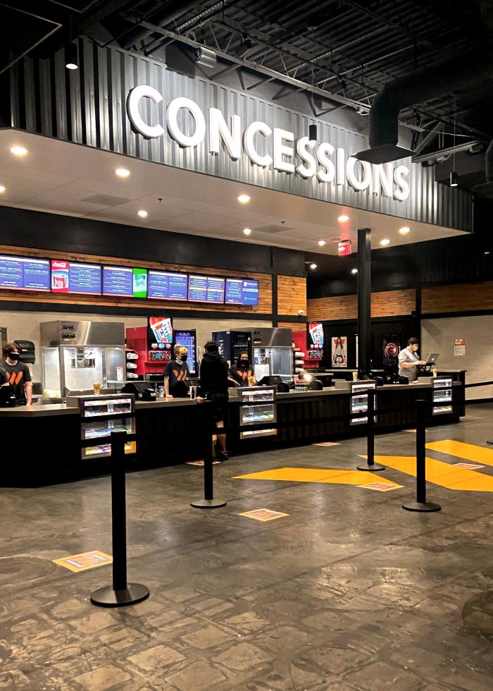 Concession stand at the Warehouse Cinemas in Frederick, MD