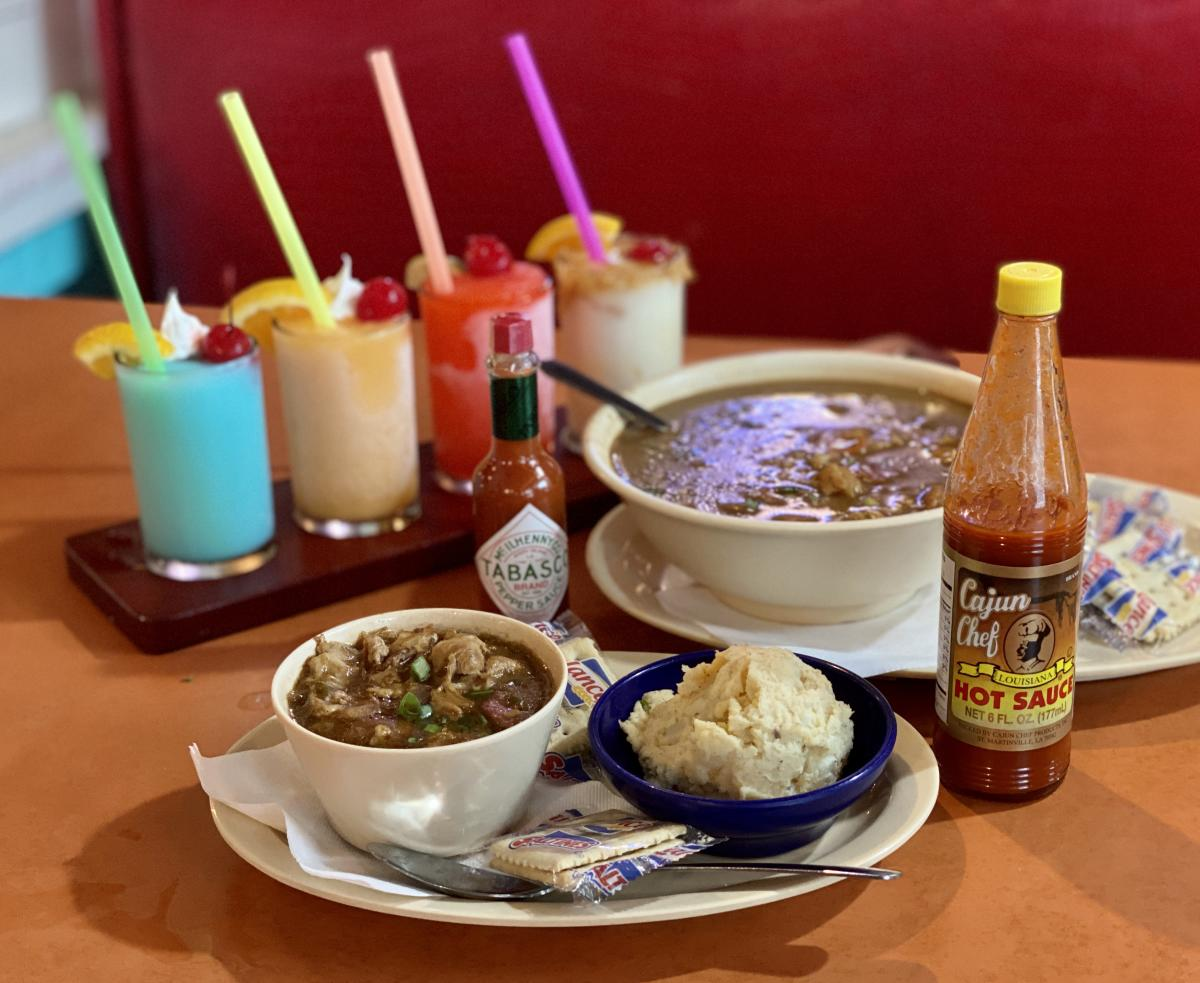 Frozen cocktails and a bowl of gumbo at Tia Juanita's