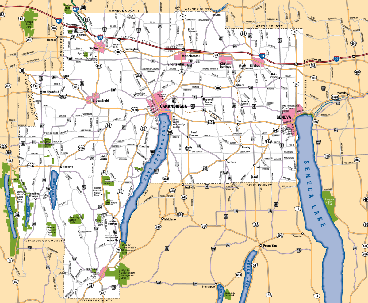 A map of Ontario Counties various cities & towns.