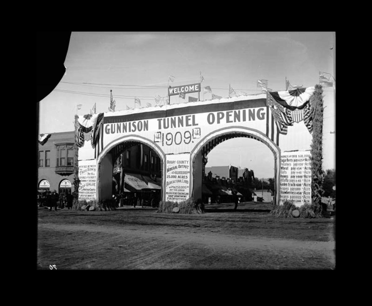 Celebration on opening of the Gunnison Tunnel, 1909 (in Montrose, not at the tunnel itself)