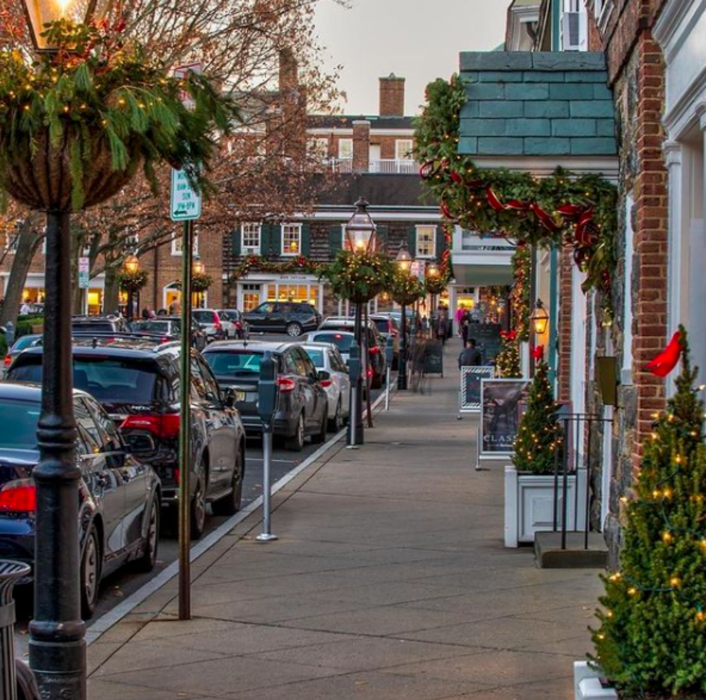 Holiday lights and decorations on display at Palmer Square in Princeton