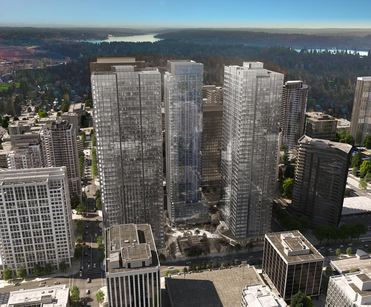 Sunlight reflects off the towering glass of Cloudvue 10855 in downtown Bellevue.