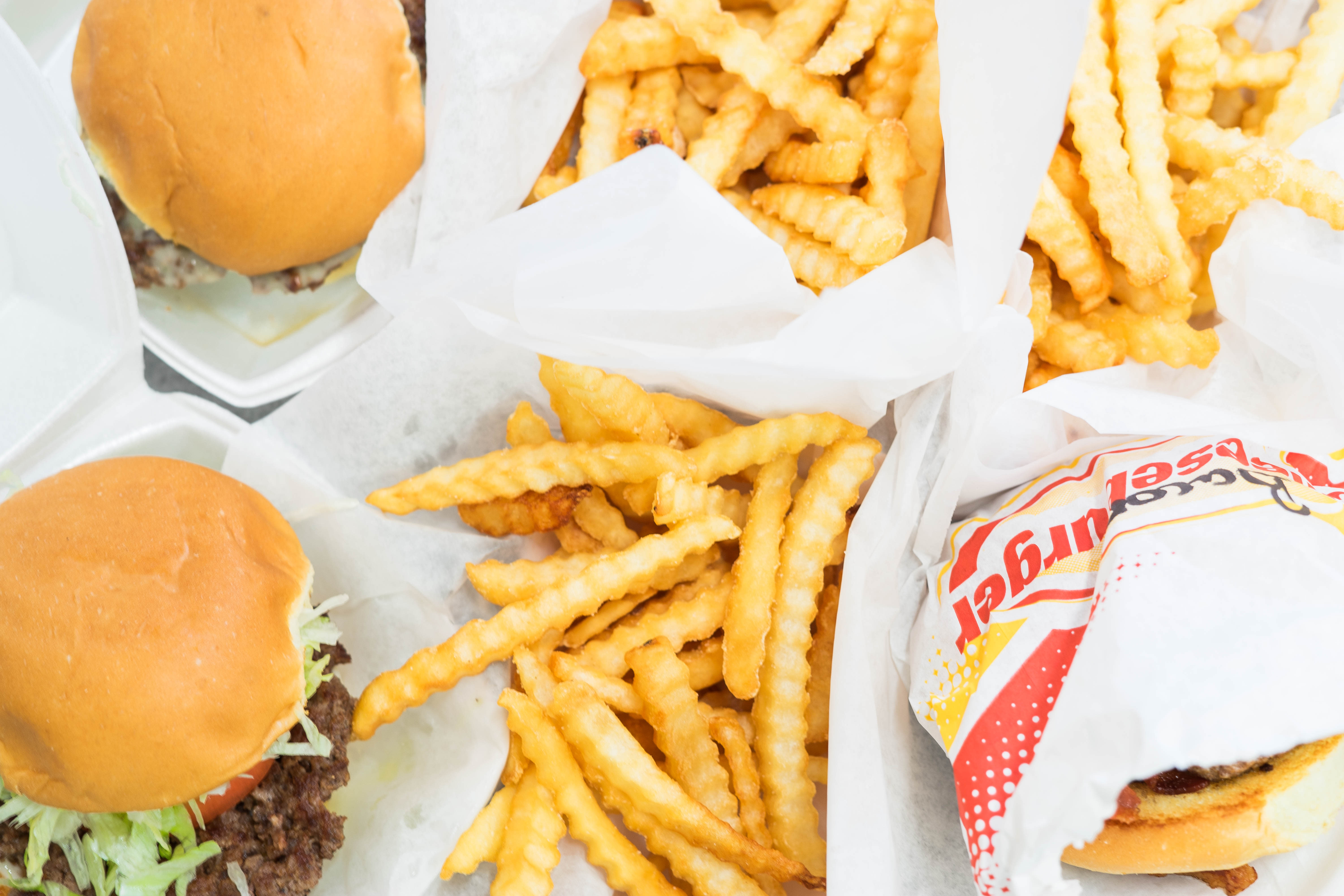 Plate of burgers and fries at Wagner's Drive-In