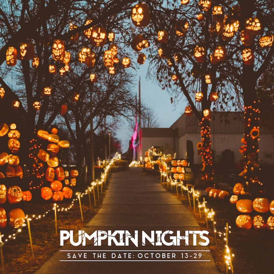 Pumpkins carved and hanging in the trees
