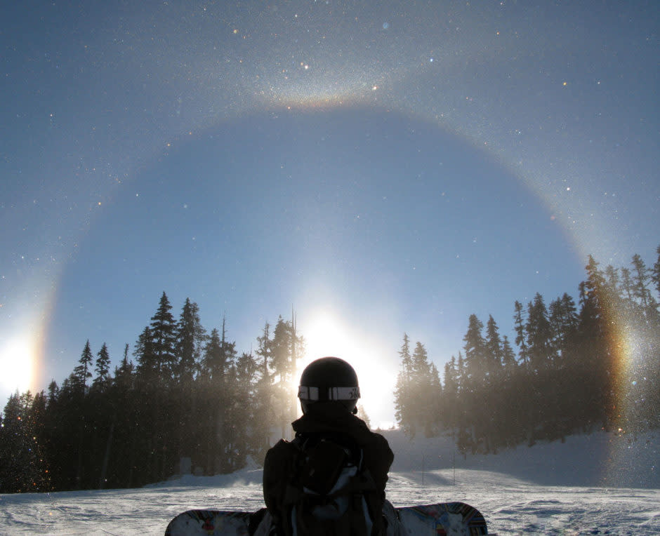 Sun-dog while snowboarding