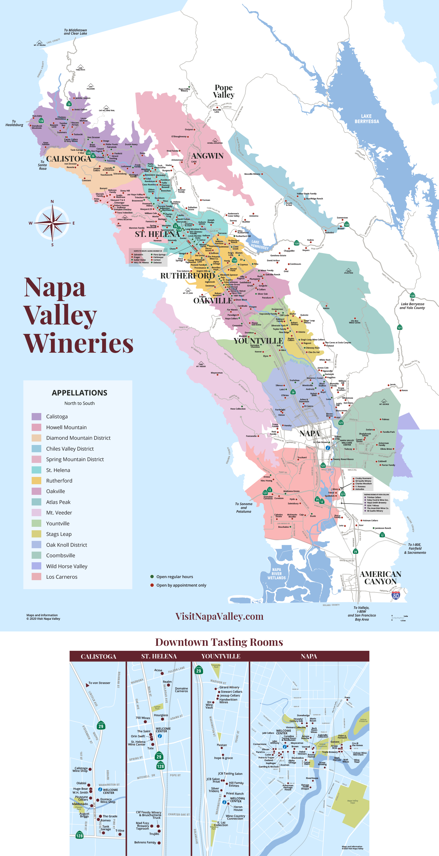 Napa Valley Wineries & Tasting Rooms Map
