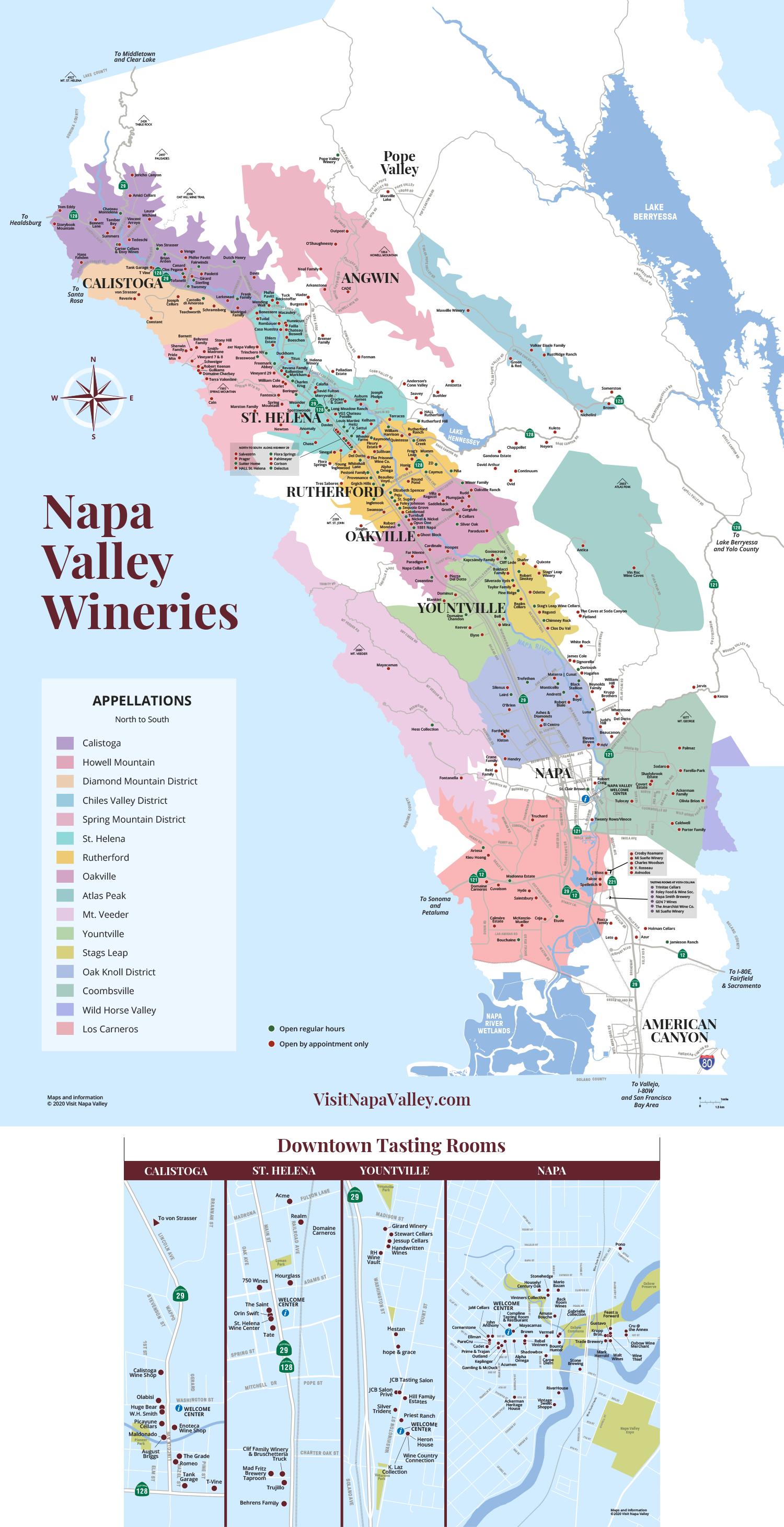 Napa Valley Wineries & Tasting Rooms Map