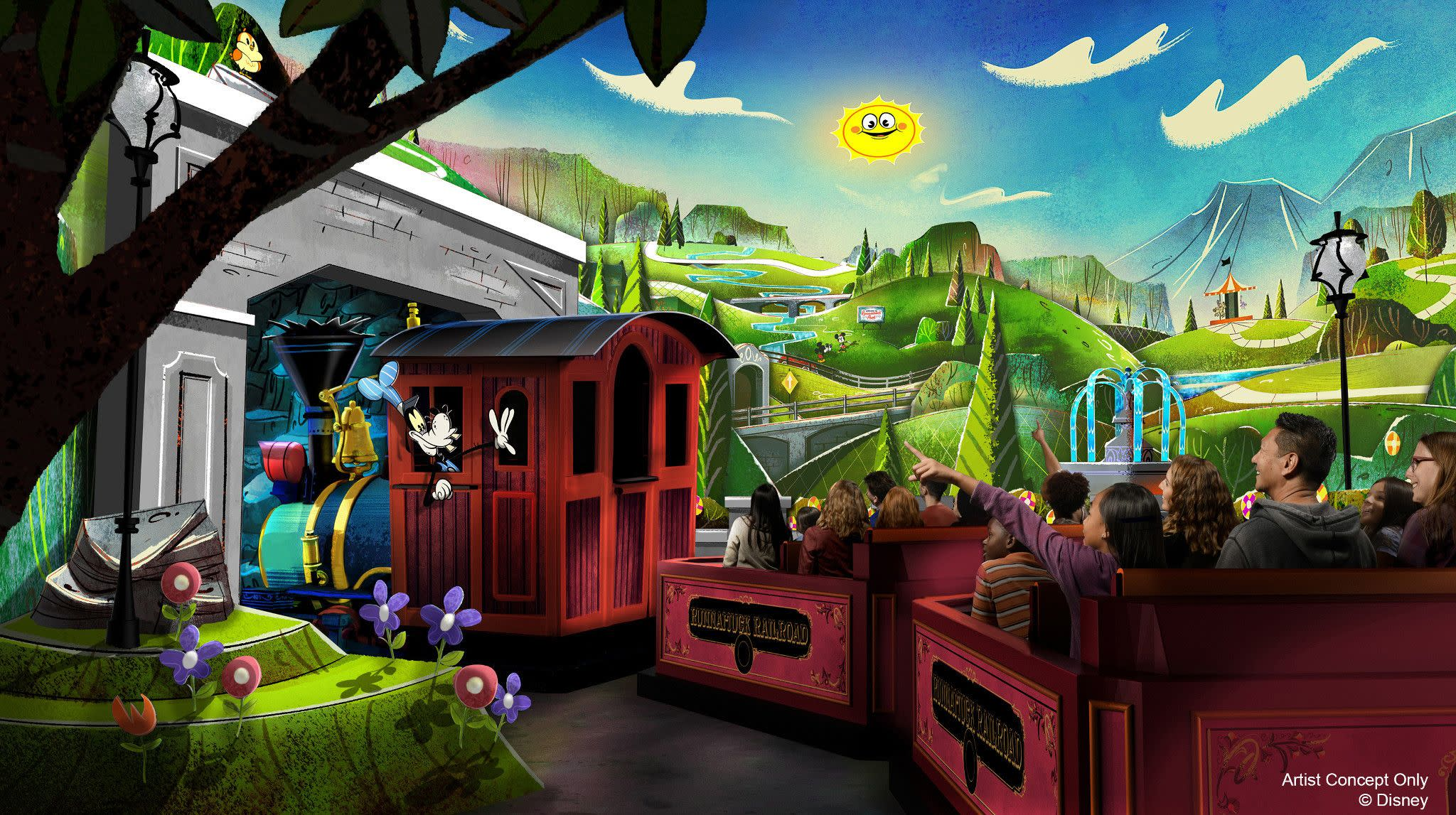 Concept Art for Mickey and Minnie's Runaway Railway, Coming Spring 2020 to Disney's Hollywood Studios at Walt Disney World Resort in Orlando