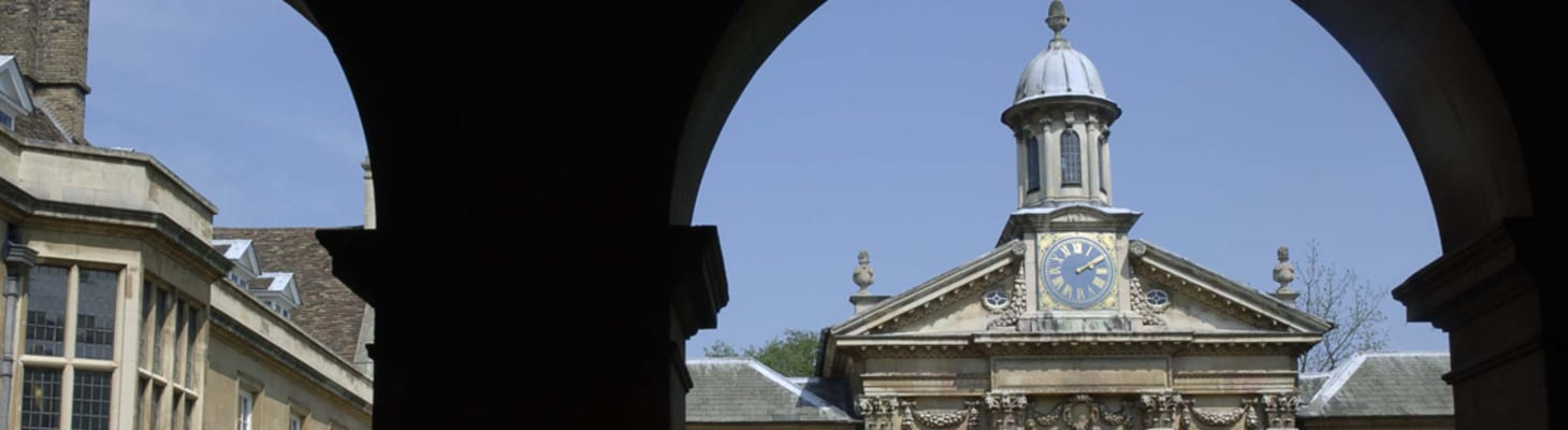 The view of Emmanuel College Chapel tower from the cloisters, a beautiful venue for hire in Cambridge.