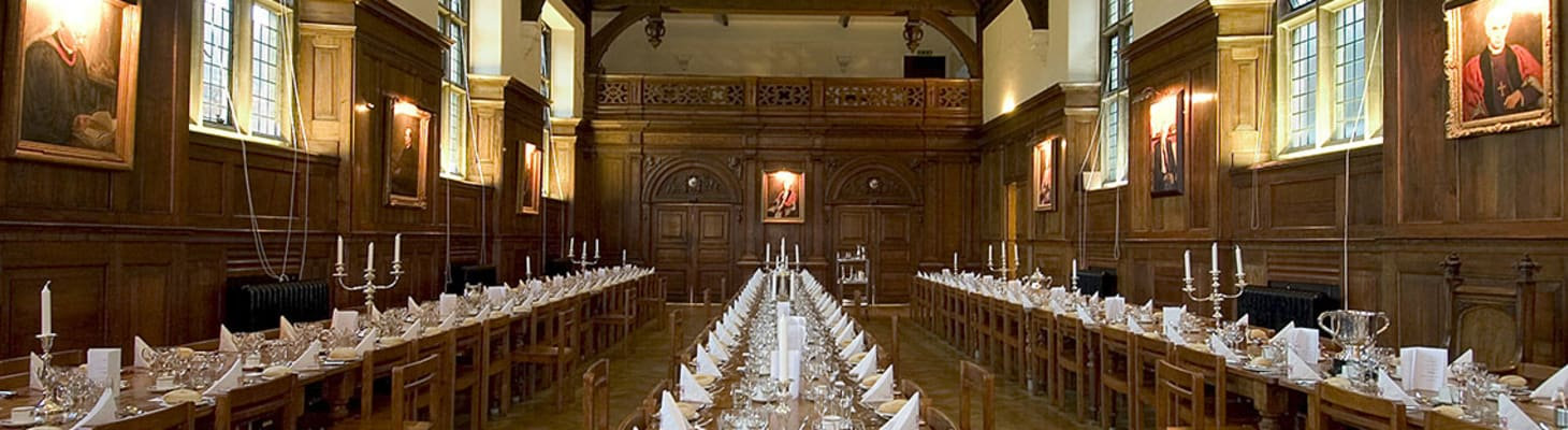 Our impressive oak panelled Dining Hall is the ideal setting for dinners for up to 180 people. The Dining Hall is situated within our Victorian Old Court.