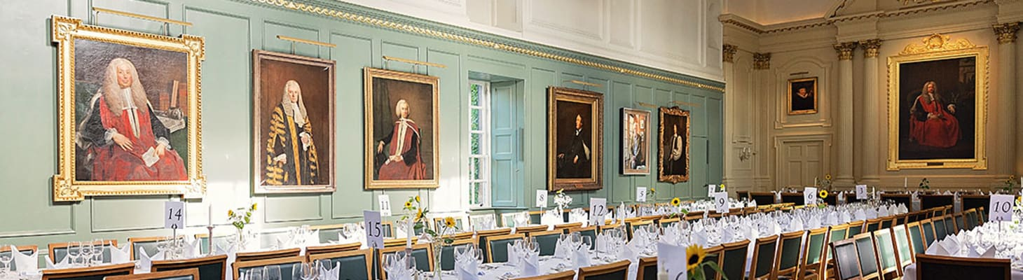 The Dining Hall at Trinity Hall is a wonderful setting for formal dinners