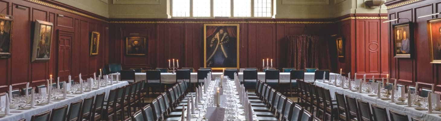 The College Hall is an Elizabethan building remodeled by the Georgian architect Sir James Burrough.  It is suitable for fine dining dinners and wedding breakfasts for up to 127 guests when the balcony, High Table and all three sprigs are used.