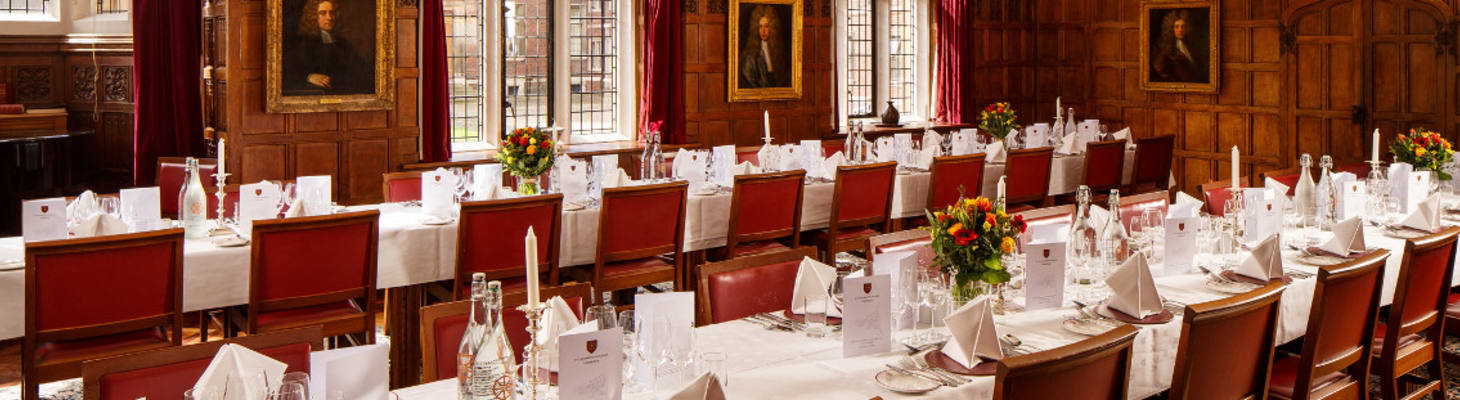 Dating back to the 17th century, the Senior Combination Room is the former dining hall of St Catharine's, and today provides an intimate setting for medium-sized dining and receptions, with stunning views over the College's Main Court.