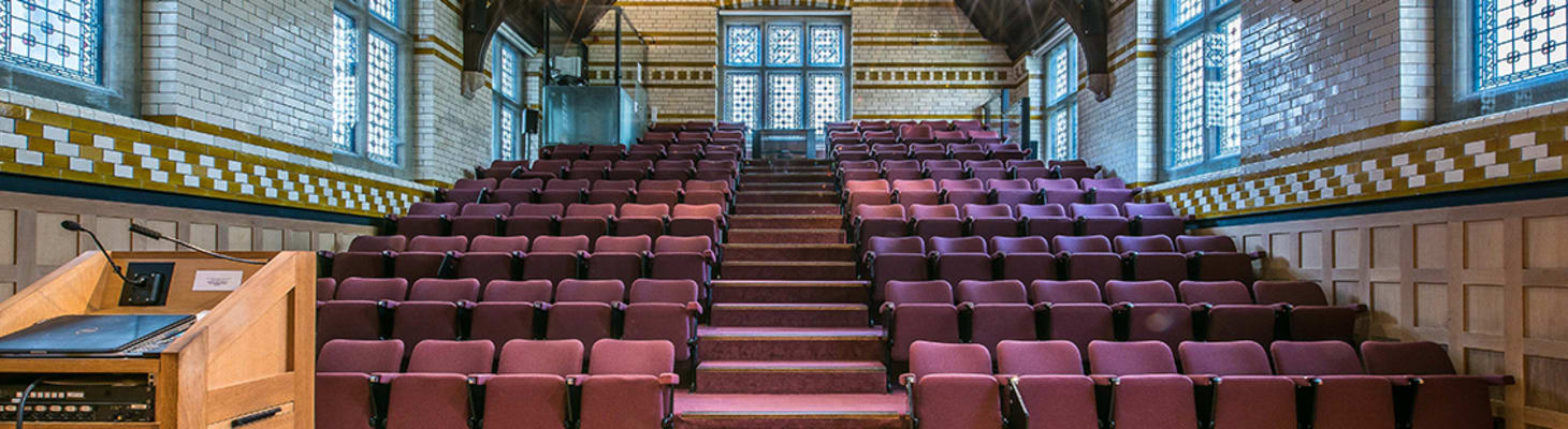 The largest of our Old Courts rooms. A tiered theatre complete with lectern-controlled AV equipment, it is an excellent venue for both conferences and lectures. Subject to approval by the Director of Music, it is also possible to hold piano recitals with use of the Steinway Grand Piano.