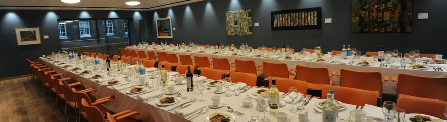 The Dining Room at Wesley House, set up for a formal dinner.