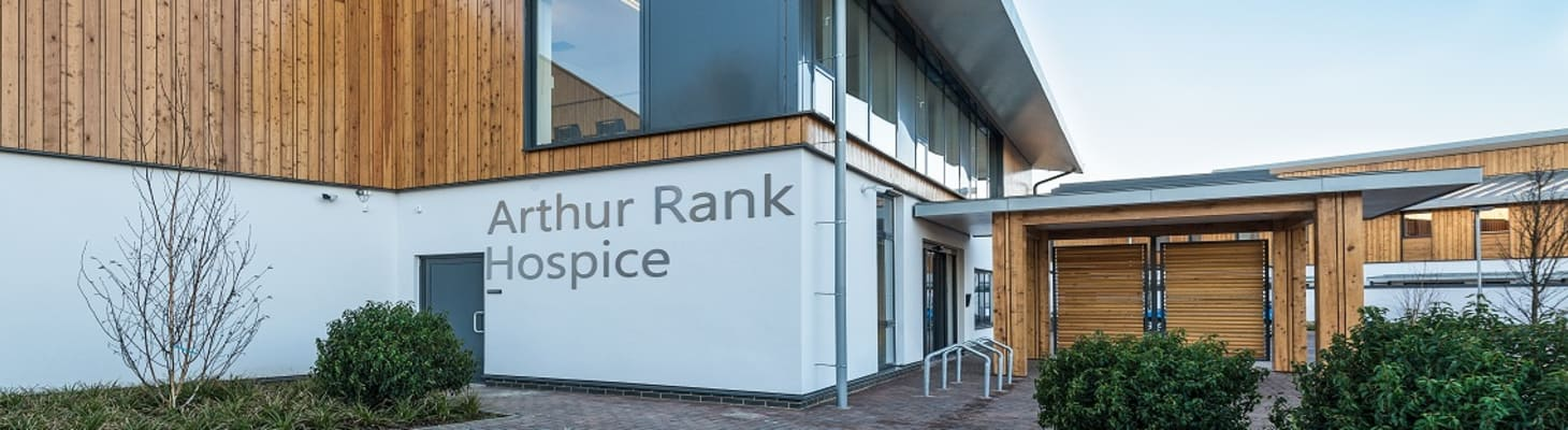 The main entrance at Arthur Rank Hospice, a venue suitable for a range of events.