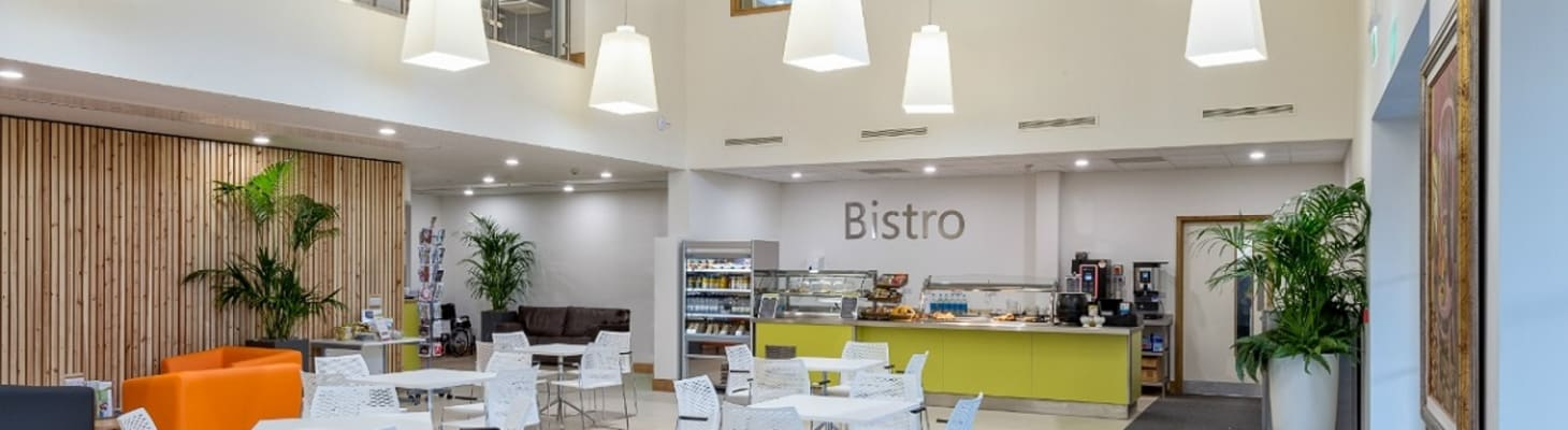 The bistro, a light and airy event space in Cambridge.