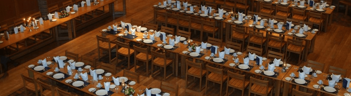 The magnificent, oak-panelled, traditional Dining Hall at Robinson College seats 300 for formal dining and banquets.