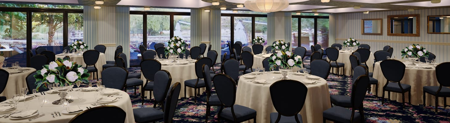A large light and airy room with multiple floor to ceiling windows dressed for private dining on cabaret tables, a perfect function space.