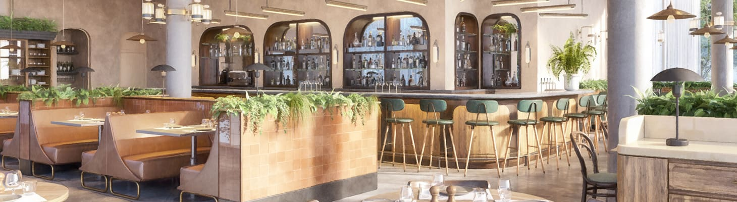 A light and airy dining room with booth style seating and bar stools round a large bar making the perfect conference venue