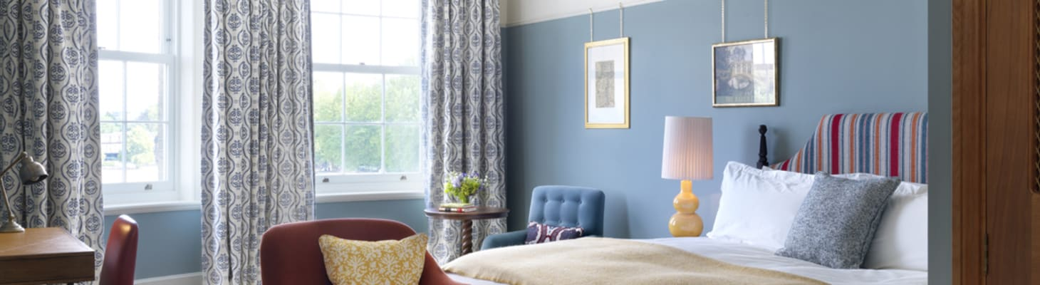A superior bedroom with park views. The University Arms Cambridge has 192 conference bedrooms.