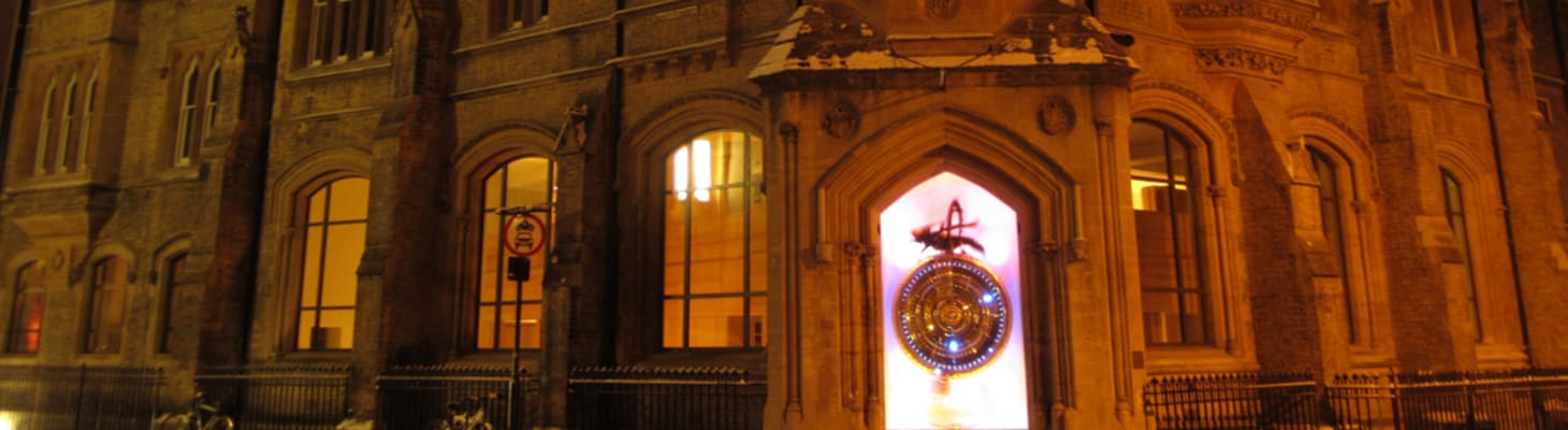 You can't miss Corpus, look out for the clock or 'Chronophage' which means Time Eater